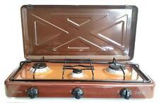Fornello da campeggio a gas marrone GPL 3 fuochi bruciatori cucinino da appoggio