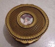 French Gilt metal Guilloche Enamel Miniature Portrait Jewel Box Casket ca 1870