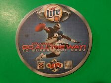 Beer Bar COASTER: 2000 MILLER Brewing Lite; You Could Win A Super Bowl XXXV Trip