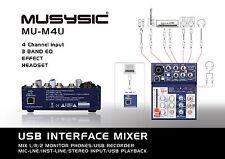 MUSYSIC 4-Channel Digital Mixer with USB Interface Studio,Webcast,Podcast MU-M4U