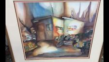 Original Abstract Watercolor - Trailer Living  - Matted and Framed - Very Cool !