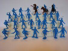 Marx Alamo  / Zorro / Recast Shako Mexicans in Mid Blue - Lot of 29 w/3 Horses
