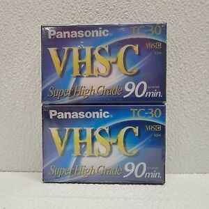 2 Pack Panasonic VHS-C TC-30 Blank Tapes Super High Grade New Sealed 90 minute