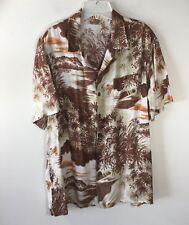 Kennington Ltd. Vintage Hawaiian Shirt Kukui Nut Torches Spear Fishing Men's M