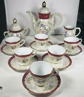 17 Piece tea Set Tiger Yedi Inc Fine Porcelain Gold Floral Gold Band In Japan