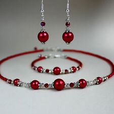 Red pearls crystals collar necklace bracelet earrings silver vintage wedding set