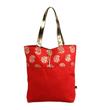 MEENAKSHI tote bag cotton canvas summer beach foldable red handgab