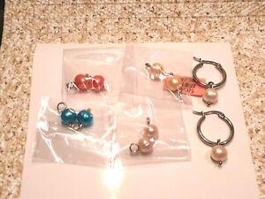 Freshwater Multi Color Pearl CHARM HOOP Earrings 5  SETS OF PEARLS- 1 PR HOOPS
