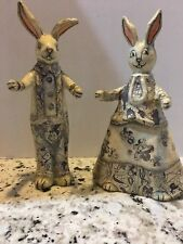 Two Paper Mache Easter Rabbits