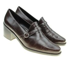 Bandolino AVERNA Womens Brown Leather Slip-ons Block Heels Loafers Shoes Sz 9M