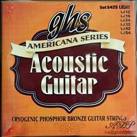 Cordes Bronze GHS Light Acoustic Guitar Strings 12-54 Americana Series CR425