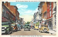 C41/ Winchester Virginia Va c1920 Loudon Street Stores Autos Civil War
