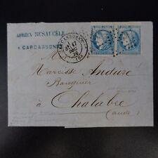 CÉRÈS N°45A PAIRE BORD DE FEUILLE LETTRE COVER GC 732 CARCASSONNE -> CHALABRE