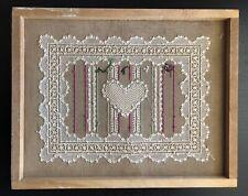 Fine Vintage Antique Needlepoint Heart Art Sweetheart Valentine Handmade