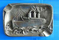 #0843# Belgique/ Ostende/Joli Cendrier en bronze navire/Bateau croisière TITANIC