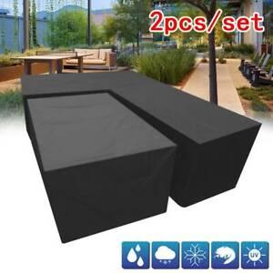 2pcs Waterproof Outdoor Garden L+S 2 Size Furniture Corner Rattan Sofa Cover UK
