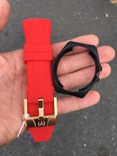 Original Technomarine red  strap band Gold buckle 45mm