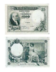- Paper Reproduction -  Spain 25 peseta 1908              229