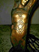 """VTG Art Deco Nouveau RARE """"SWOON"""" Figure Table Lamp 1900-1940, """"WAVES"""" Art Glass"""