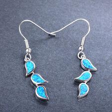 Blue Fire Opal Leaves Dangle/Hook Earring 10Kt White Gold Filled Women Jewellery