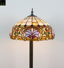 Free Postage 16'' Floor Lamp Tiffany Victorian Ivory Stained Glass Light Deco