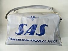 1950's SAS SCANDINAVIAN AIRLINES SYSTEMS vinyl zippered travel cosmetic bag ^