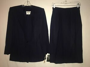 VINTAGE NWT KASPER 2 PIECE SUIT SKIRT AND JACKET NAVY BLUE SIZE 6 80'S