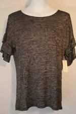 NEW Womens Knit Blouse Size Medium Top Black Gray Shirt Ruffle Sleeve Soft