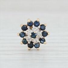 SINGLE Blue Sapphire Diamond Flower Earring - 10k Yellow Gold Pierced Stud