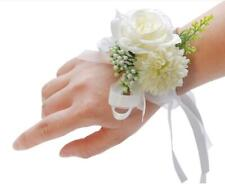 white ivory Corsage Bridal bridesmaid flower girl Prom Wedding Party Silk Rose