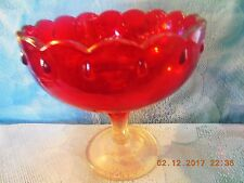 """Vtg Teardrop Ruby Red Bowl on Pedestal - Indiana Glass - 1960's - 7 1/2"""" Tall"""