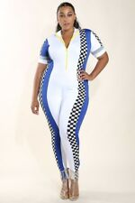 8879d7471b1 Plus Size Black Red White Checkered Colorblock Racer Catsuit Jumpsuit 1X 2X  3X
