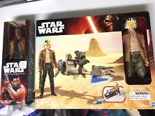 "Star Wars The Force Awakens 12"" Speeder Bike & Poe Dameron Figure PLUS 12"" Finn"