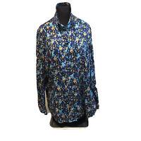 Coldwater Creek Blouse Plus Sz 2X No Iron Cotton Long Sleeve Blue Floral Print