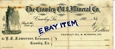 1905 Advertising Bank Check CROWLEY LOUISIANA OIL & MINERAL COMPANY P L Lawrence