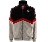 Kappa Men Authentic Cabrini Velour Track Top Full Zip Jacket - Black/Red Dk/Grey