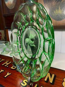 Beautiful Art Deco Green Depression Glass Plate Embossed Ballerina Centre