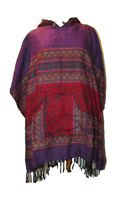 Square Hooded Festival Poncho Acrylic Wool Mexican Style Heart Detail Pocket