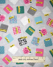 Sewing Themed Swatch Toss Gray Cotton Fabric Robert Kaufman Sewing Studio YARD
