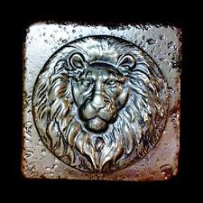 Small Roman Lion Wall Relief Backsplash sculpture plaque Tile in Bronze Finish