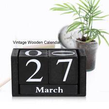 Holz Würfel Kalender Dauerkalender Vintage Look Blau / Schwarz für Home Office