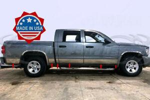 """fit:2005-2011 Dodge Dakota Quad/Crew Cab Short Bed Rocker Panel Trim 12Pc 5 3/4"""""""