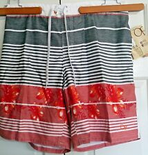 OP Ocean Pacific E-Board Sunguard Shorts 3XL Big Men Red Greys White Floral Swim