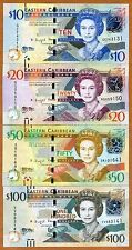 SET Eastern East Caribbean, $10-20-50-100, ND (2016) , P-New, UNC > Upgraded