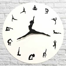 Modern Yoga Posture Silent Wall Clock Fitness Living Room Home Office Decoration