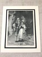 Antique Print Christmas in the Old World Children Boy Girl Victorian Original