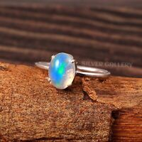 Natural Ethiopian Opal Solid 925 Sterling Silver Handmade Ring Size - 7.5 R-602