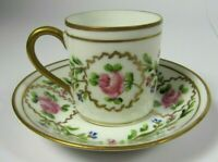 French Antique Porcelain LIMOGES Empire Cabinet Tea Cup and Saucer Hand Painted
