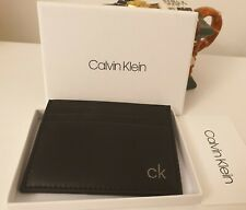 Calvin Klein LEATHER CARDHOLDER Black New with box