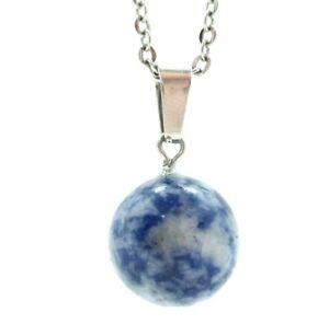 Sodalite Necklace Quartz Sphere Chakra Healing Round Globe Pendant Stone Chain
